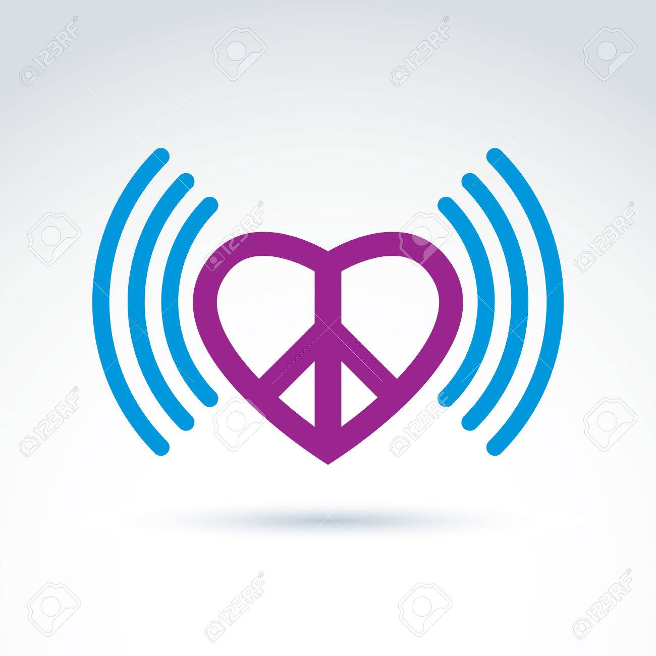 Vector Loving Heart Icon With Peace Symbol From 60th Podcast