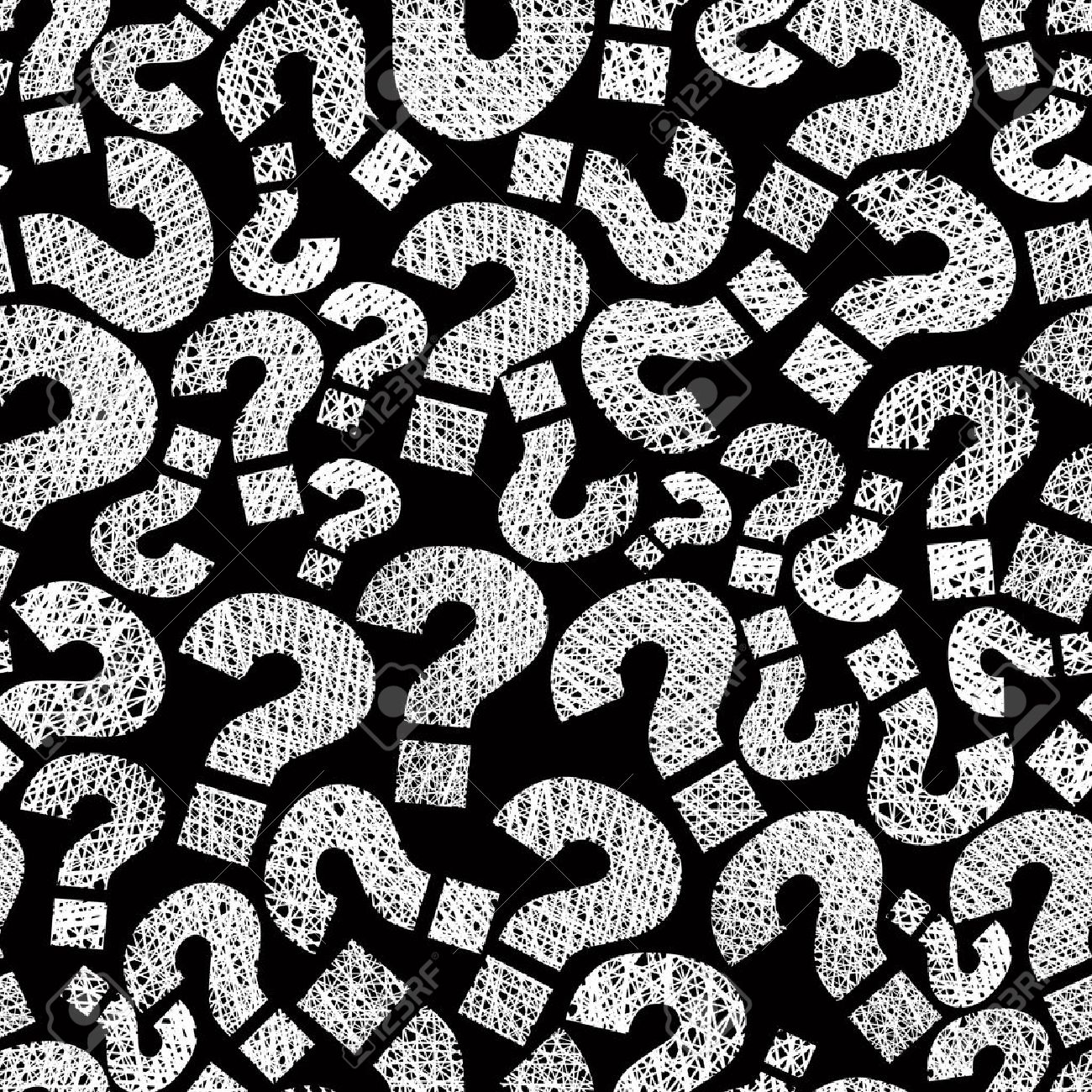 Question marks seamless pattern, vector, hand drawn lines textures used. Stock Vector - 33631191