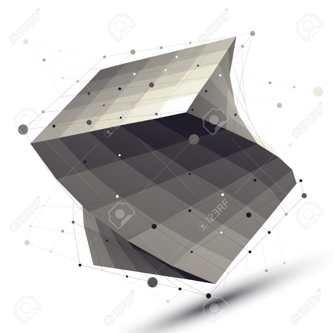 Abstract deformed vector squared object with lines mesh isolated on white background. - 33631310
