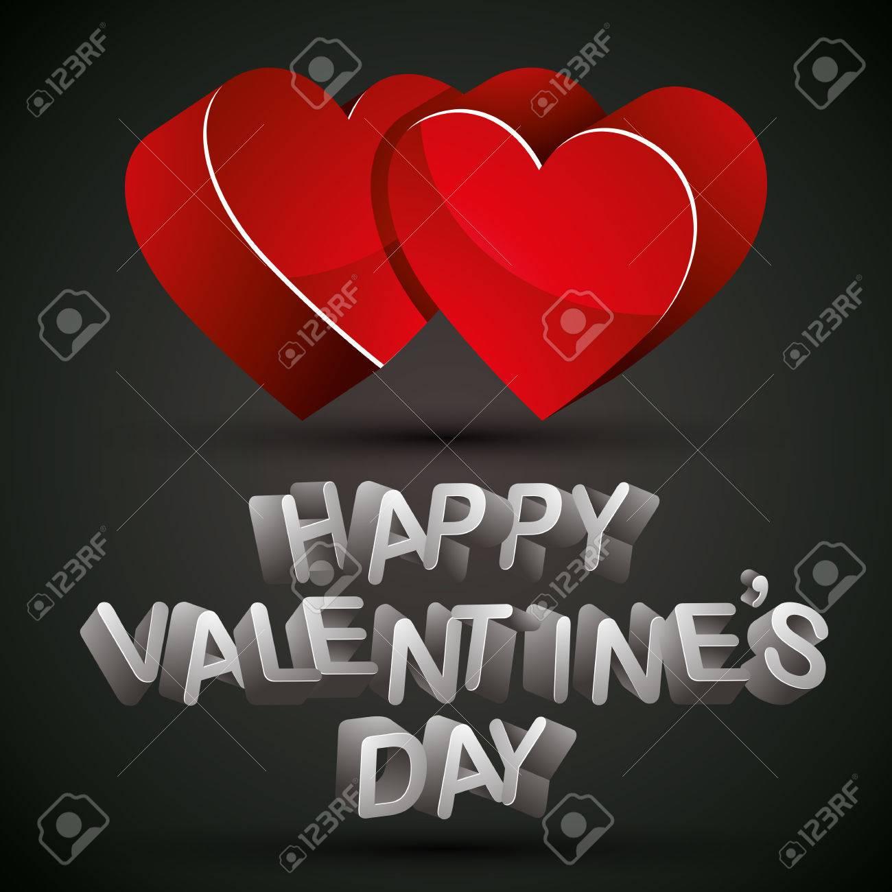 Frase Del Día De San Valentín Feliz Hecha Con Letras 3d Y Dos Corazones Rojos Sobre Fondo Oscuro Tarjeta De San Valentín Vector