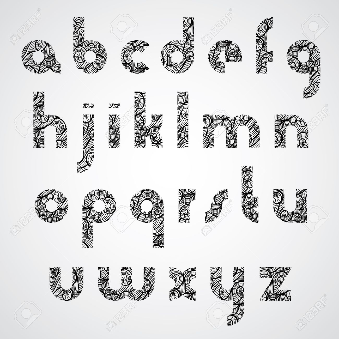 Modern Shape Letters, Digital Style Contemporary Font With Hand ...