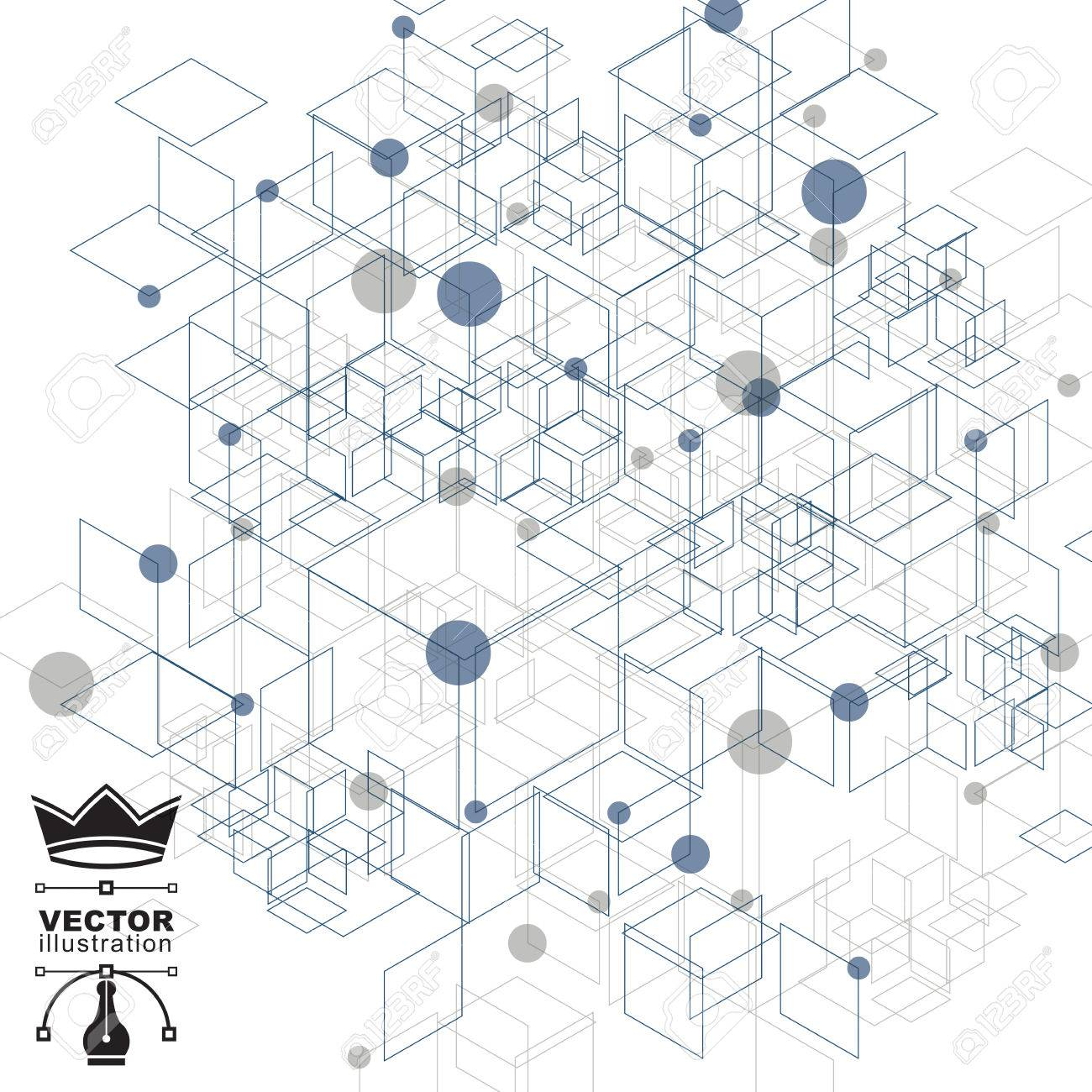 Graphic web background with cubes, mesh vector abstract complicated cover created from geometric figures, eps10 tech illustration. Internet technology theme, digital backdrop. - 33637763