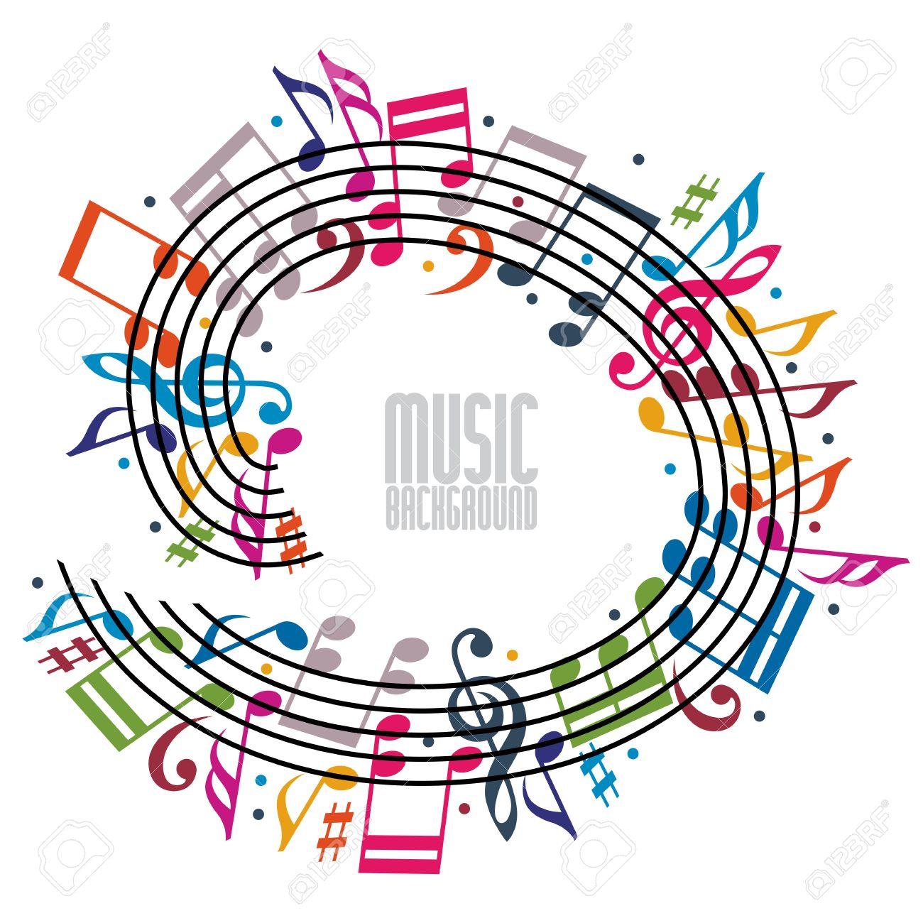 Fondo Colorido De La Música Con Clave Y Algunas Notas, Hoja De ...