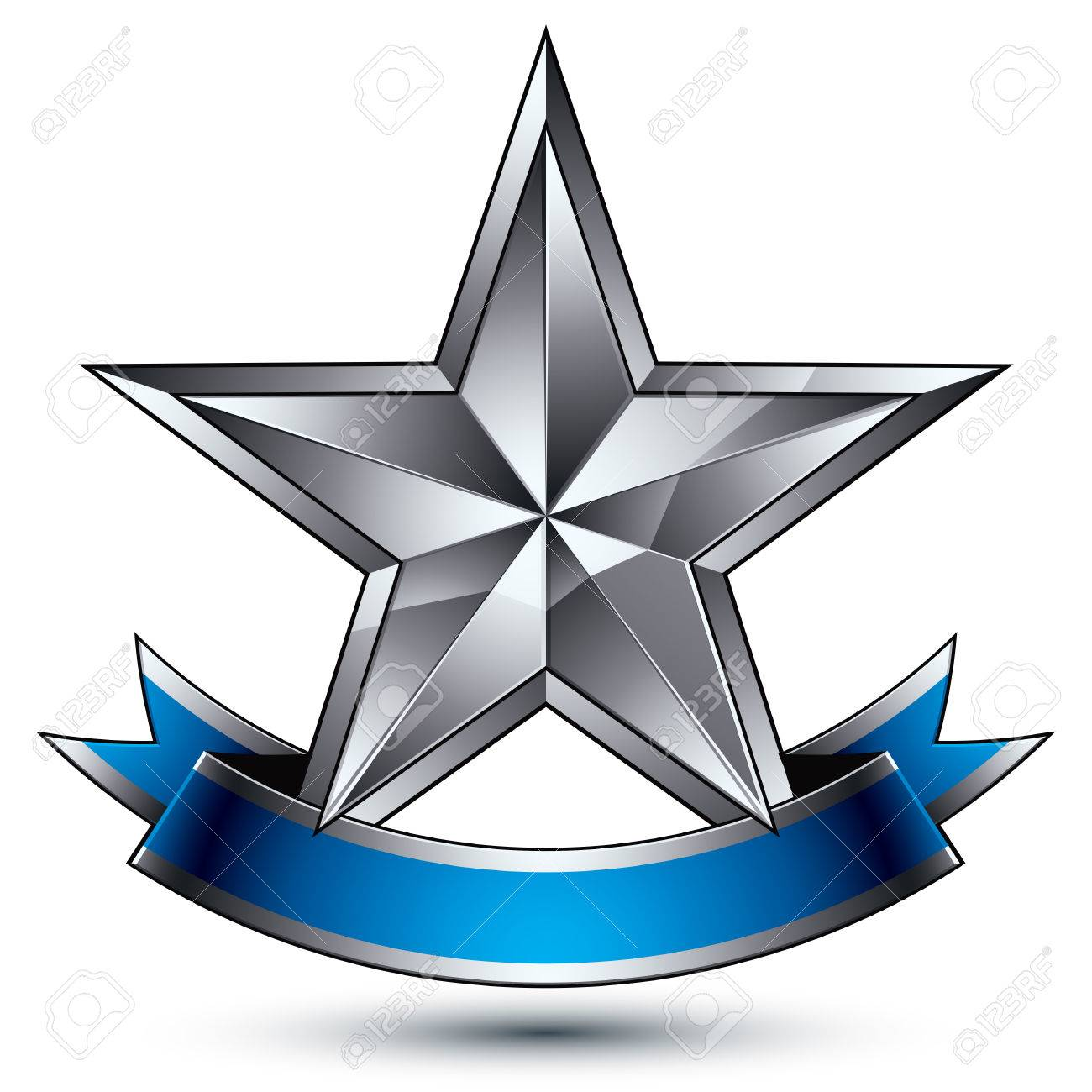 Glamorous Vector Template With Pentagonal Silver Star Symbol ...