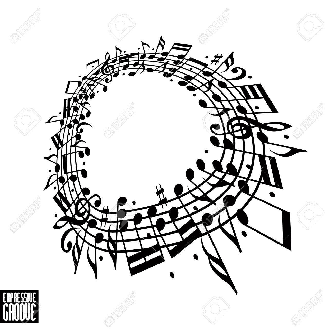 Concepto Ranura Expresivo. Diseño Blanco Y Negro. Música De Fondo ...
