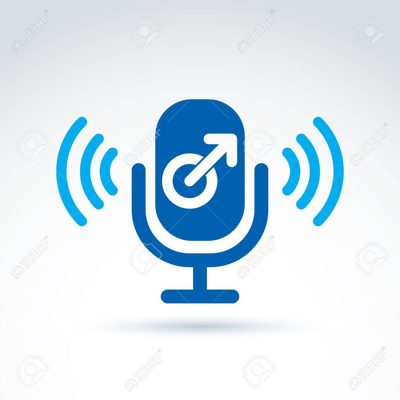 Microphone With A Blue Male Sign Male Gender Symbol Gay Or Man