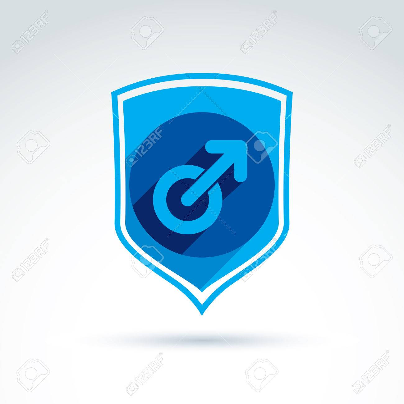 Shield With A Blue Male Sign Male Gender Symbol Gay Or Man Club
