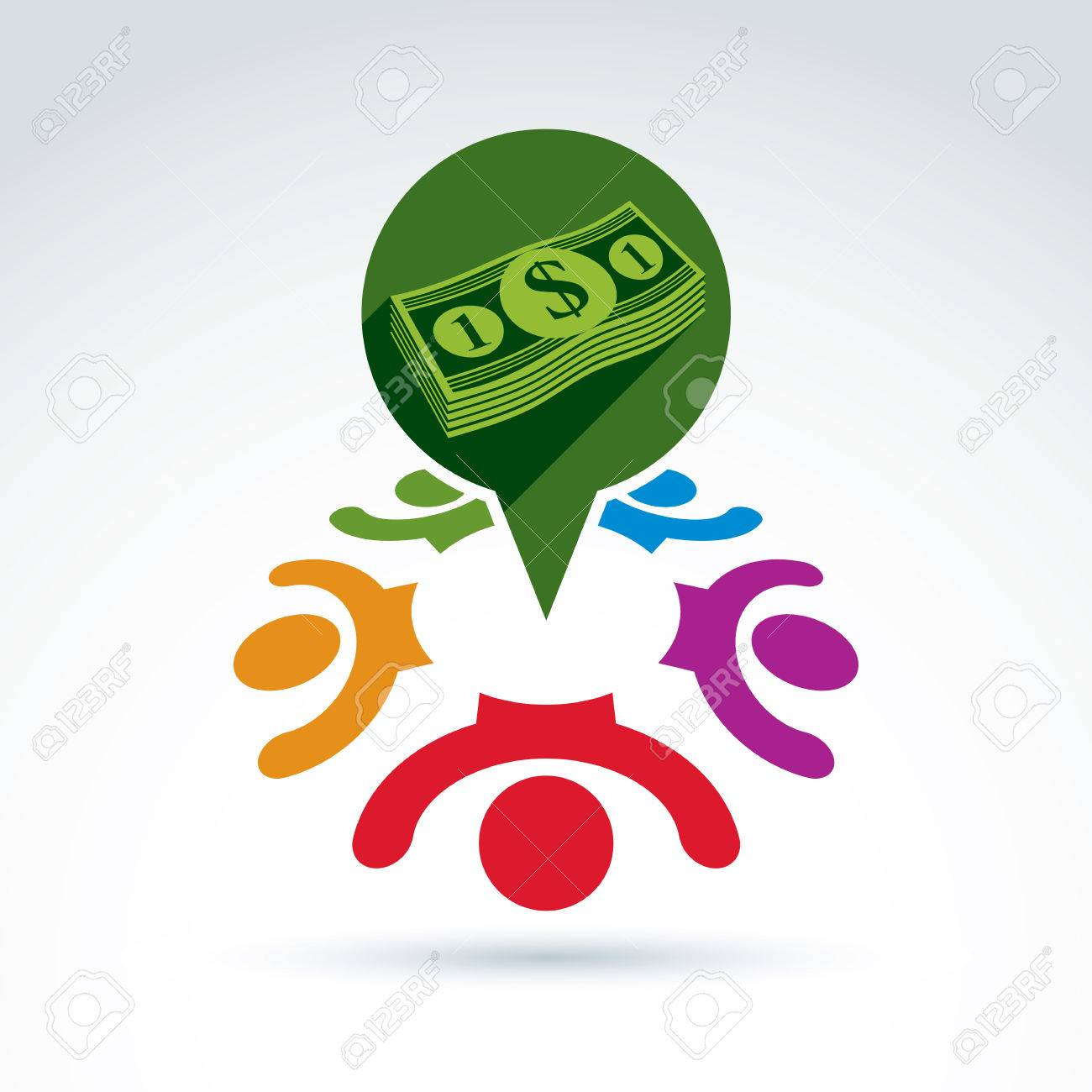 Financial And Social Money Theme Icon People Work Team Society