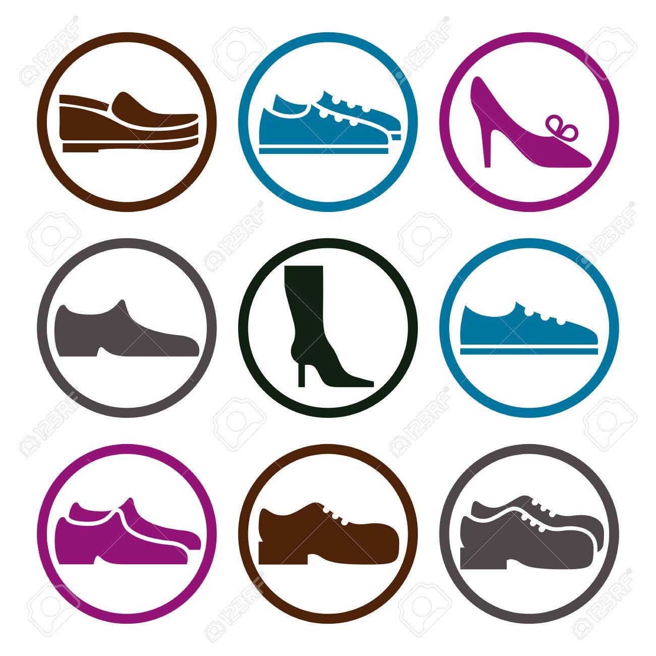 履物のアイコン ベクトル セット、靴絵文字のベクター コレクション。 写真素材 , 36169863