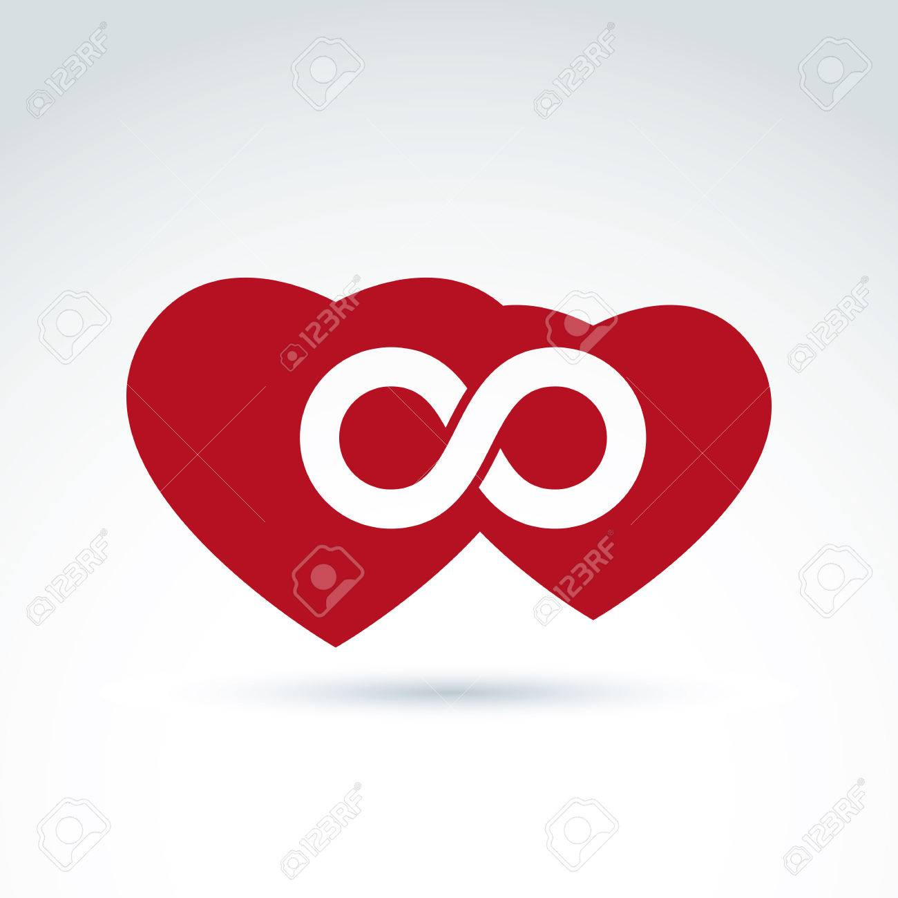 Vector infinity icon illustration of an eternity symbol placed on illustration of an eternity symbol placed on a red heart love biocorpaavc Images
