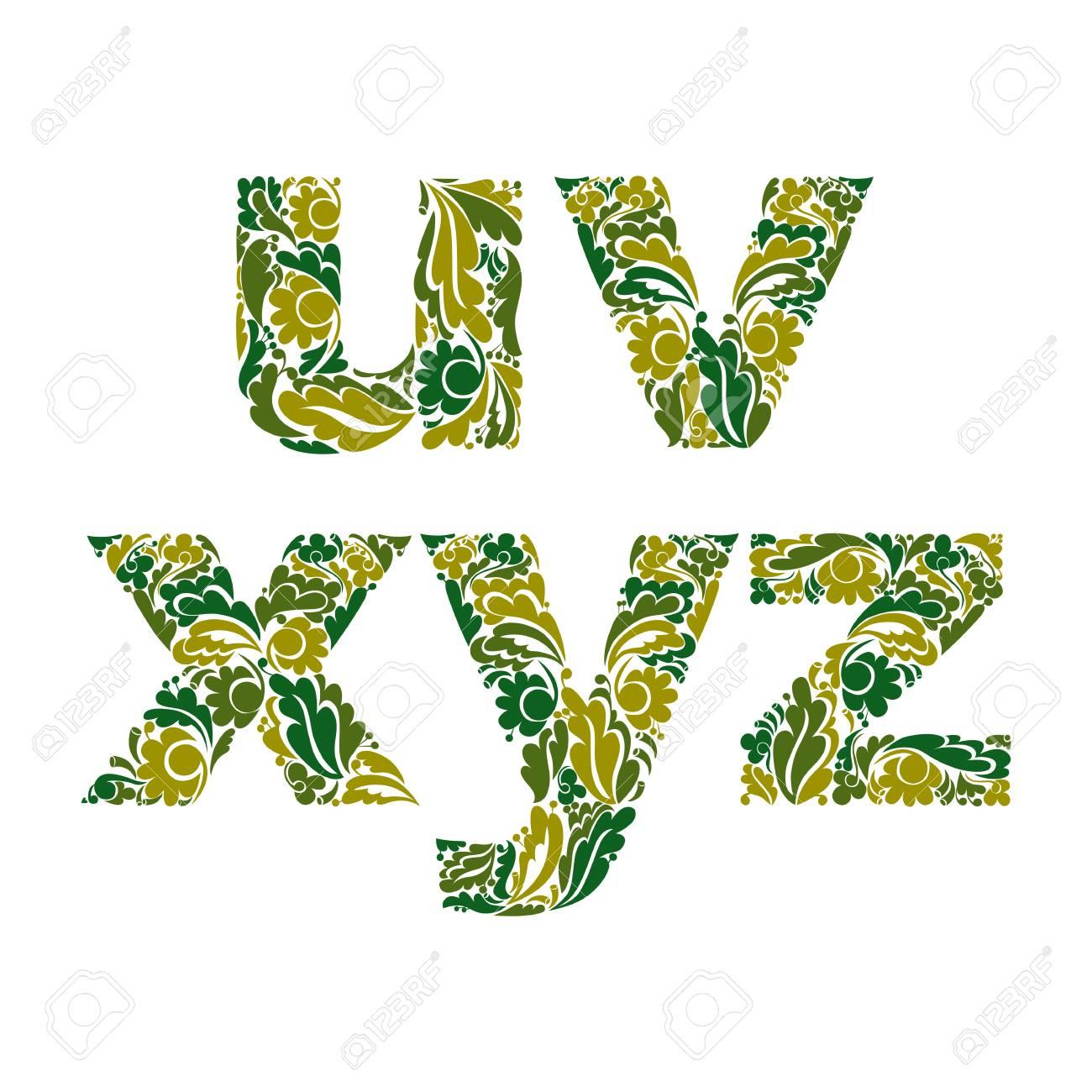 Tapuscrit Ornementale Lettres Décorées Avec Motif à Base De Plantes