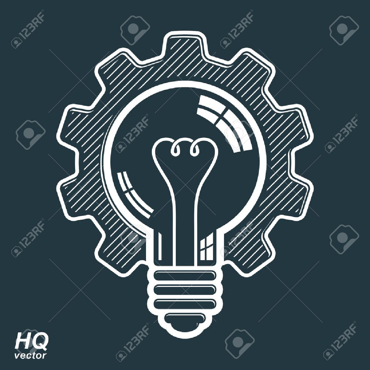 Vector light bulb shape, high quality cog wheel. Technical solution symbol, manufacturing and business idea icon, retro graphic gear. Industry innovation design element. Stock Vector - 36388956