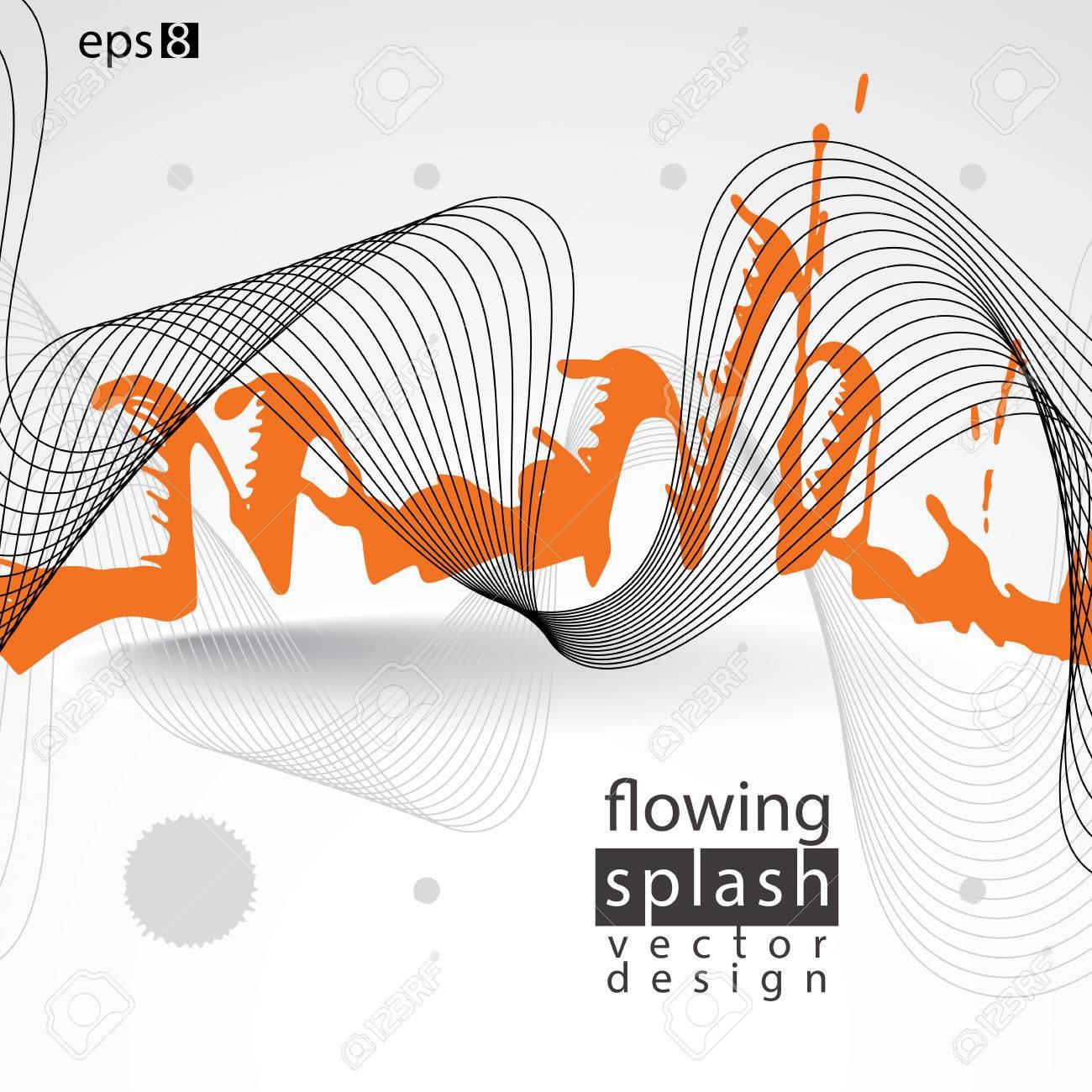 モダンな真っ黒な壁紙 流れるような線 ブラシで塗りつぶされた一時的な Blob 混乱オレンジ落書き図形要素 表現力豊かなだらしない図 のイラスト素材 ベクタ Image