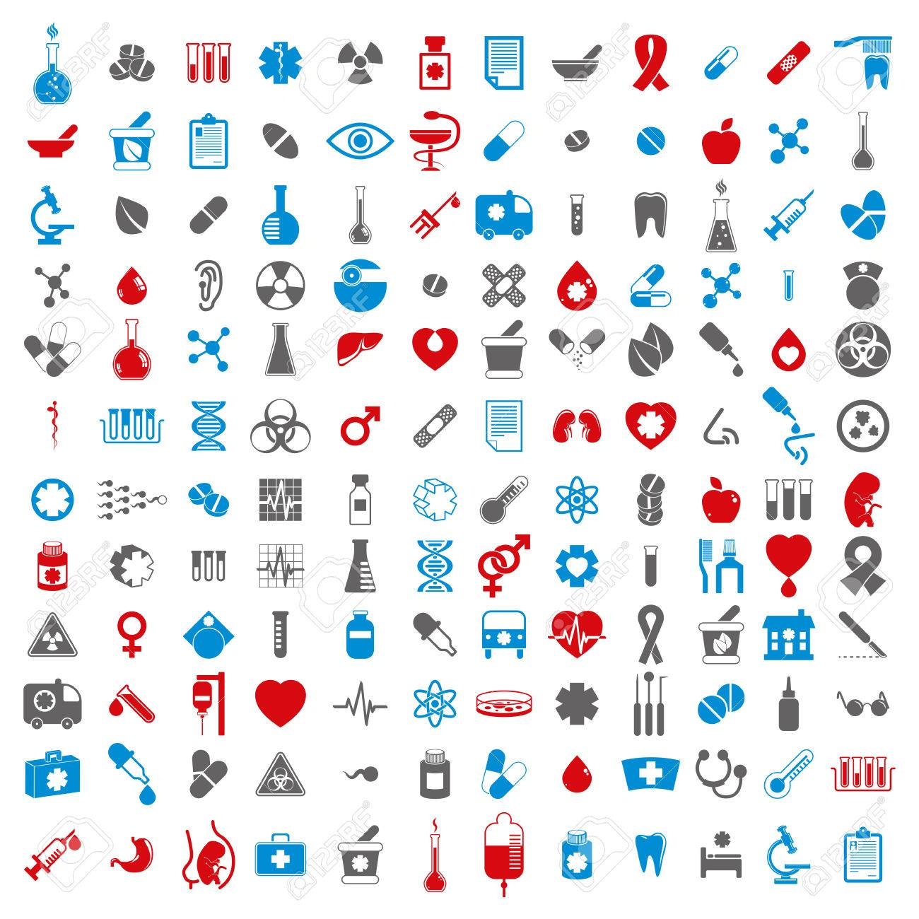 Medical icons set, vector set of 144 medical and medicine signs. Stock Vector - 36400719