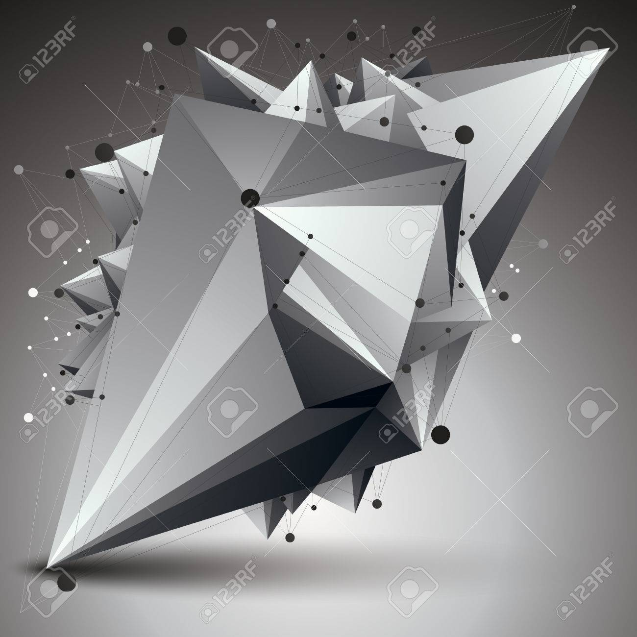 3D Mesh Modern Stylish Abstract Construction, Origami Facet Object ...