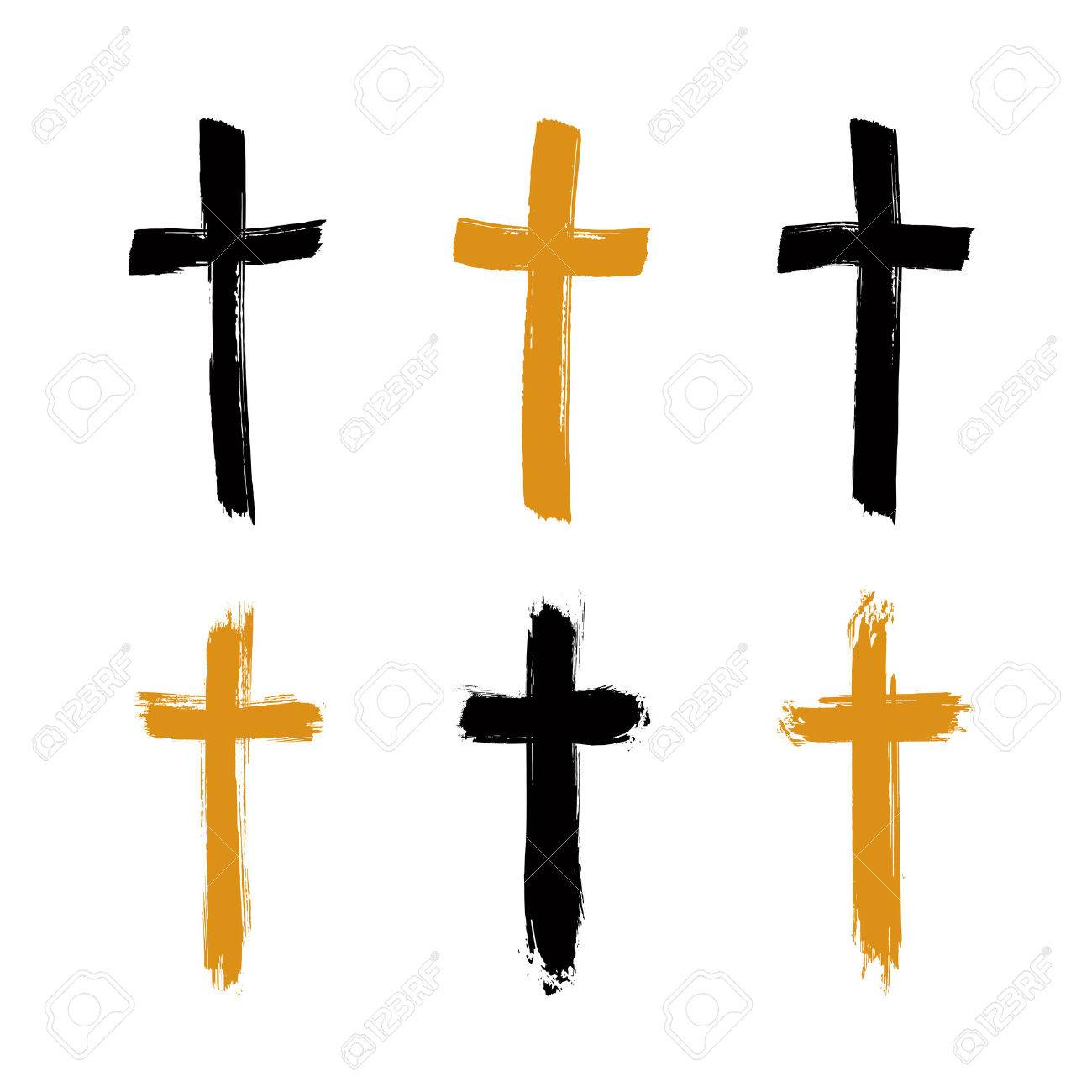 Set of hand-drawn black and yellow grunge cross icons, collection of simple Christian cross signs, hand-painted cross symbols created with real ink brush isolated on white background. Stock Vector - 37792639