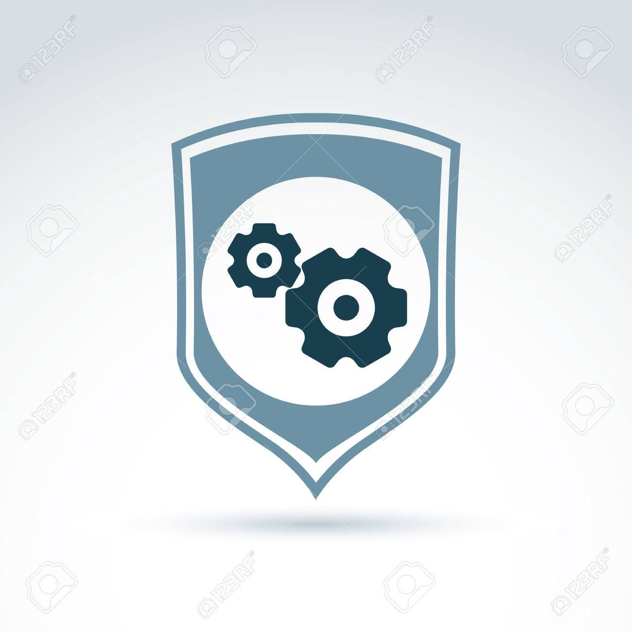 Gears and cogs system theme icon, with protection shield, system