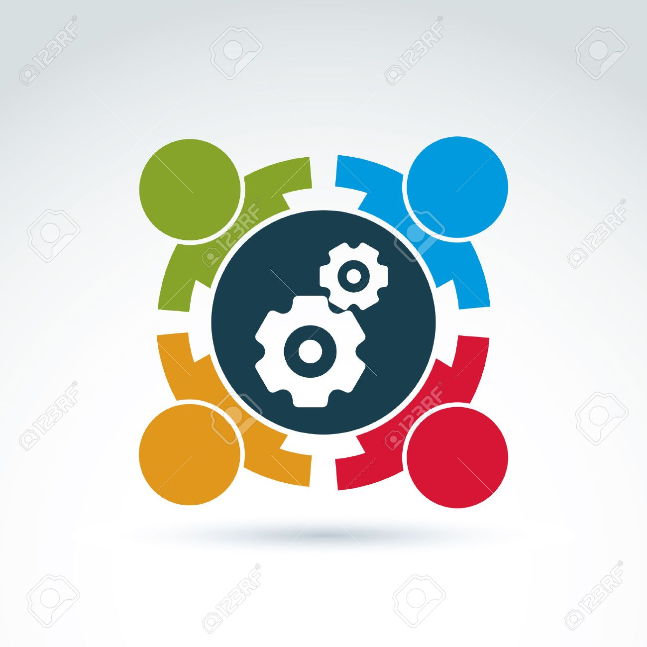Vector illustration of gears - enterprise system theme, international business strategy concept. Cog-wheels, moving parts and people – components of manufacturing process. Stock Vector - 37804019