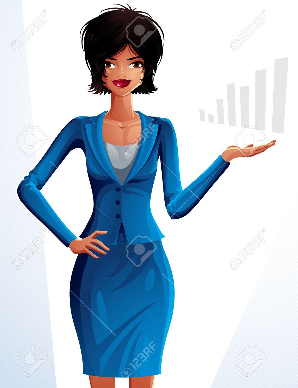 Belle Femme D Affaires Mulâtre Portrait En Pied Dessin Coloré D Une Jeune Fille Mince Mignon Avec Le Maquillage Et La Coiffure Moderne Illustrant La
