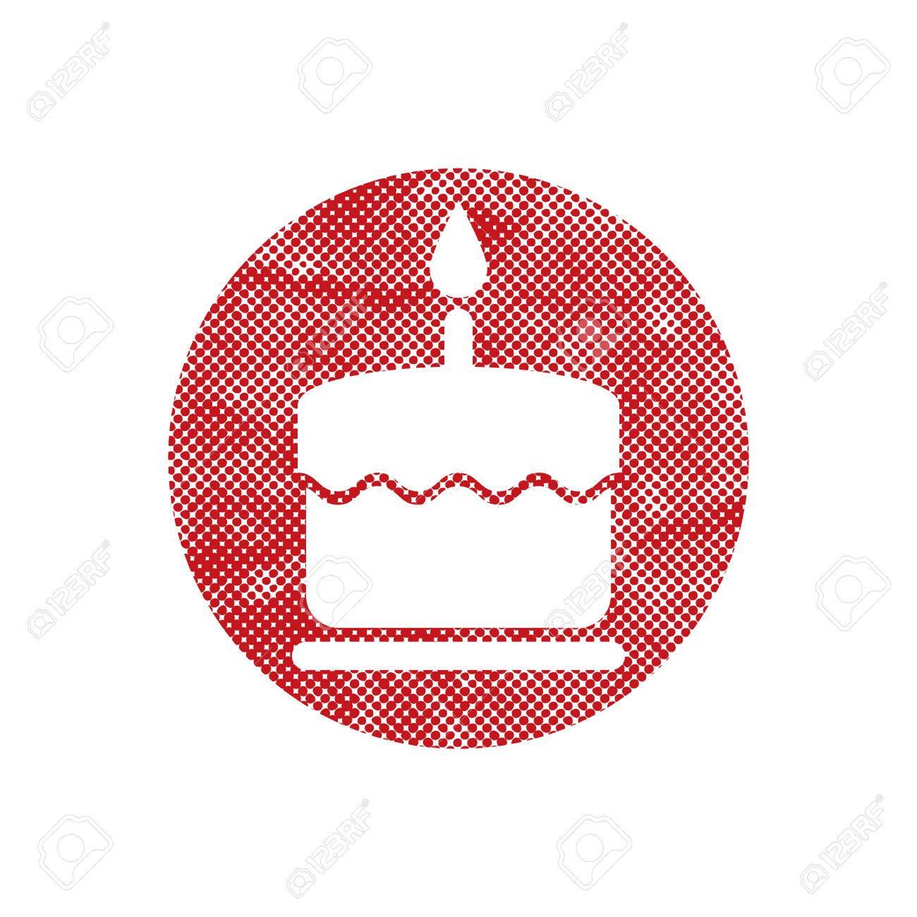 Gâteau Icône Avec Une Bougie Unique Avec Des Points Pixel Impression En Demi Teinte Texture