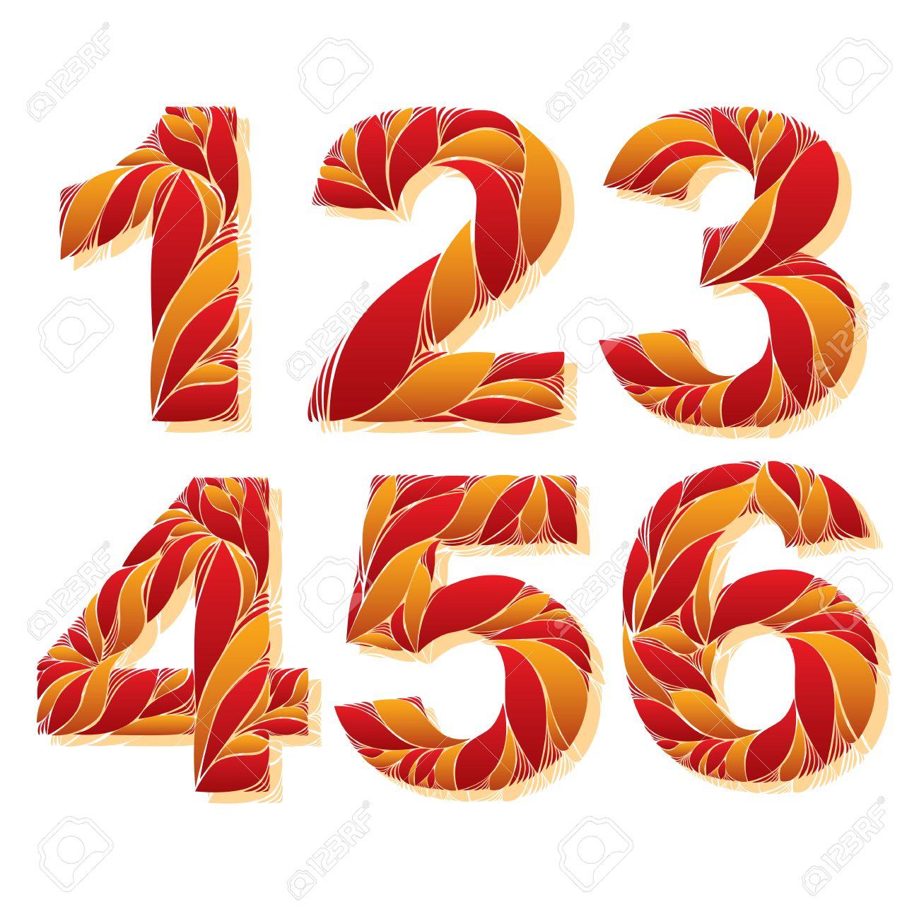Chiffres De Fleurs à Motifs élégants Numéros Ornementales Avec Motif Floral 1 2 3 4 5 6