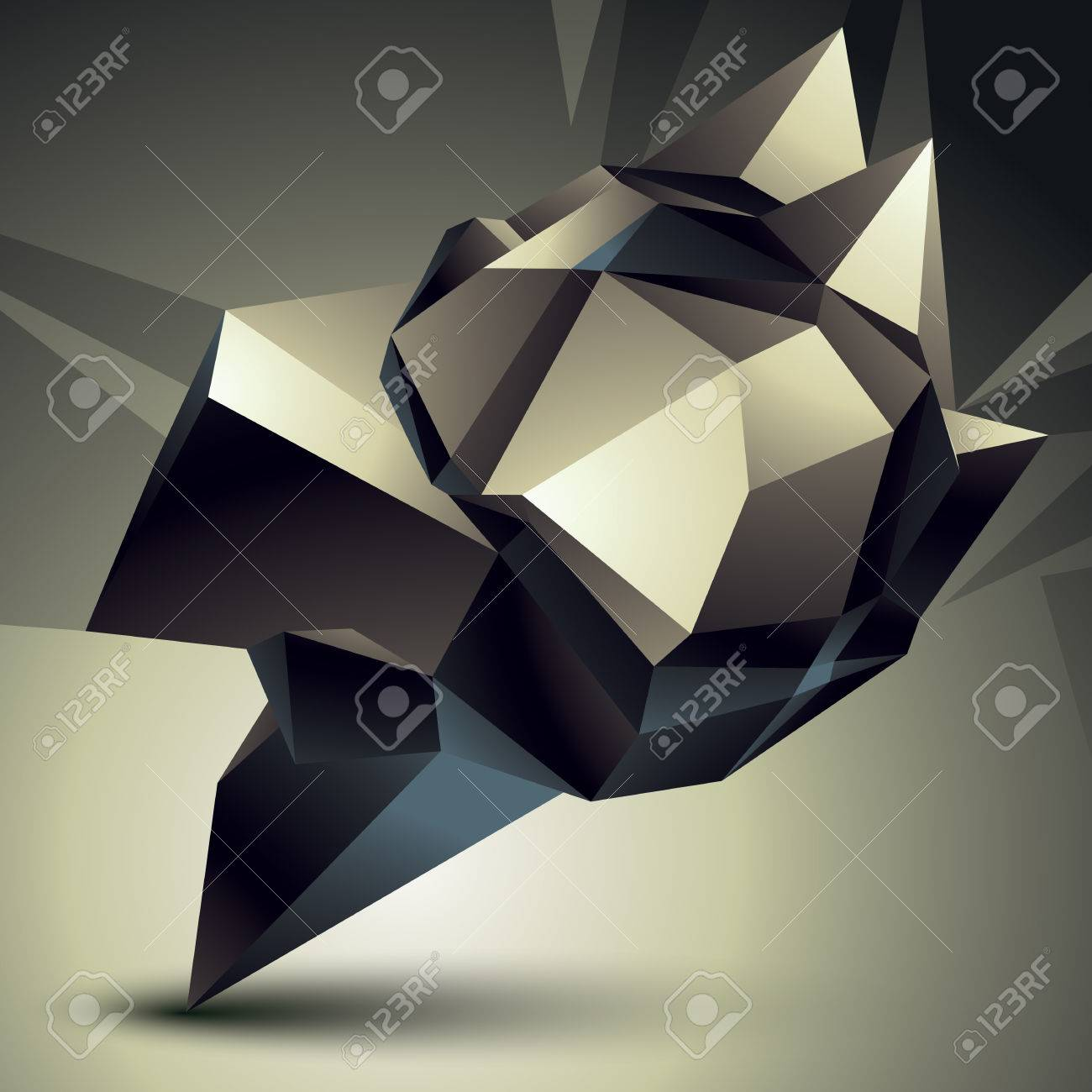 Style contemporain 3D objet abstrait, forme futuriste cybernétique