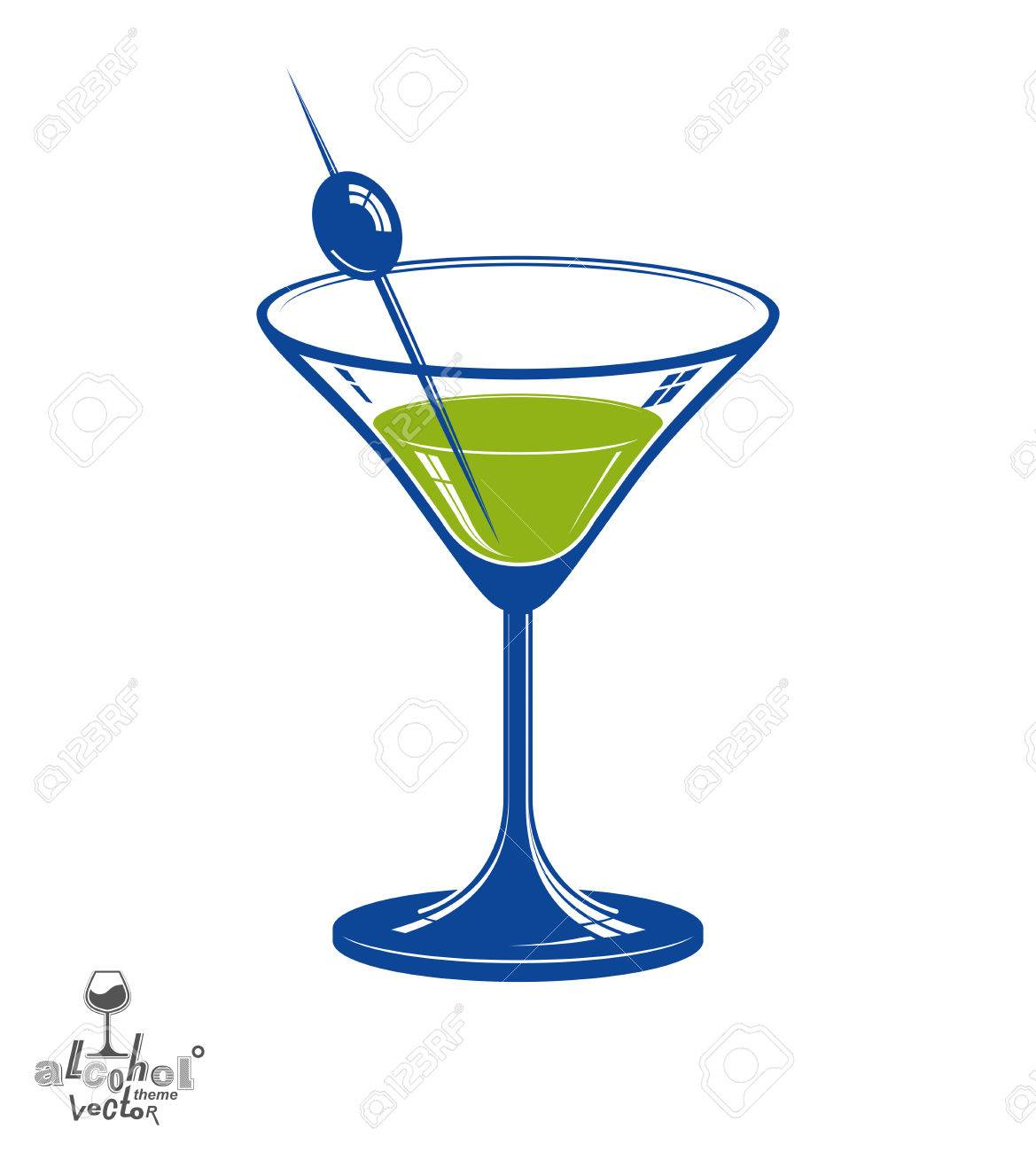 Realistic 3d Martini Glass With Olive Berry Beverage Theme