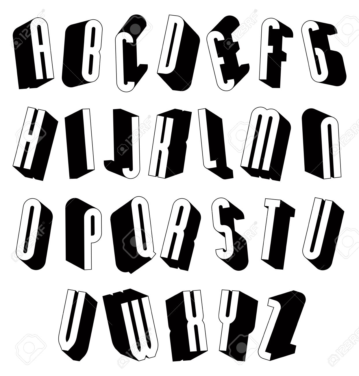 Black And White 3d Font Single Color Simple Letters Alphabet