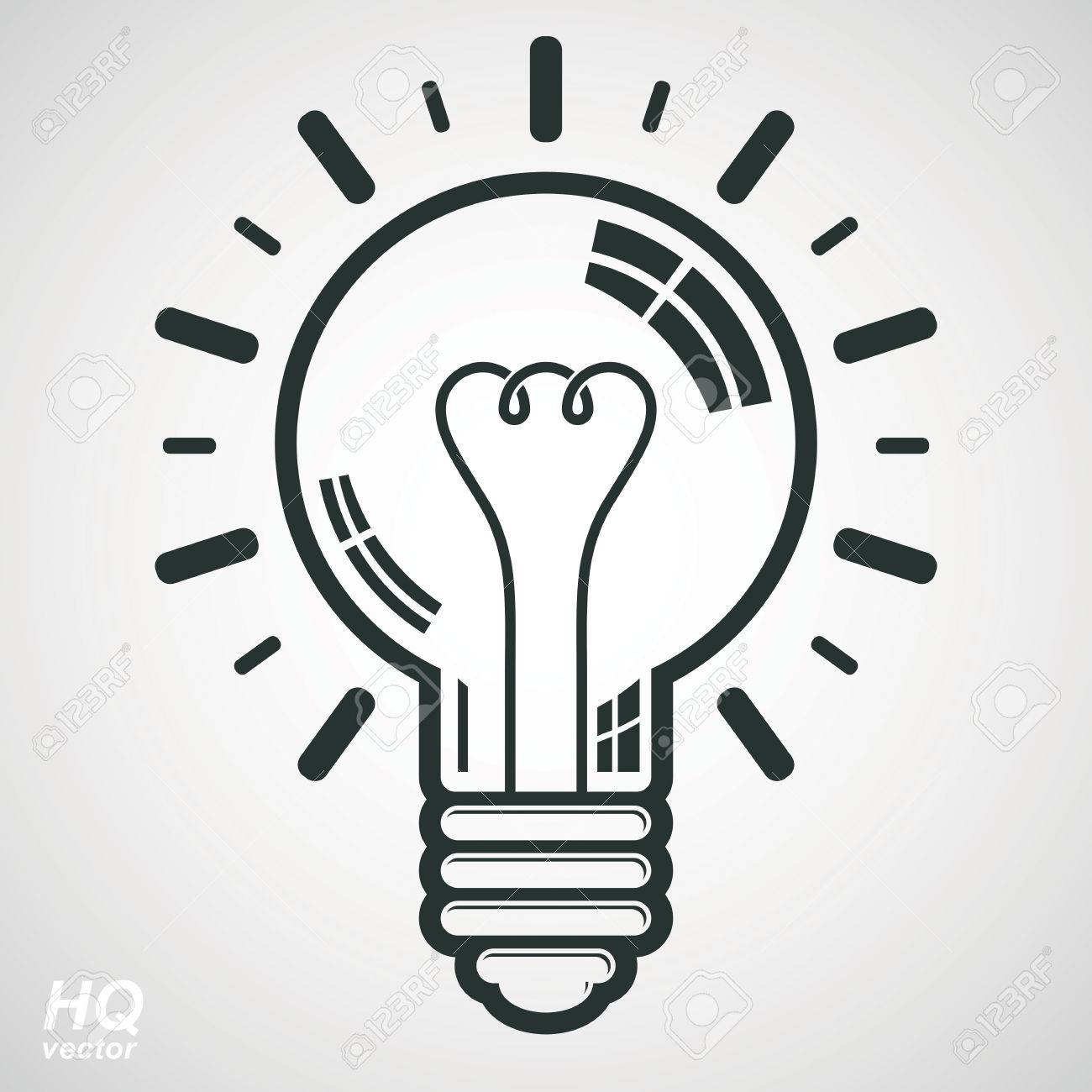 Electricity Light Bulb Symbol Isolated On White Background Vector