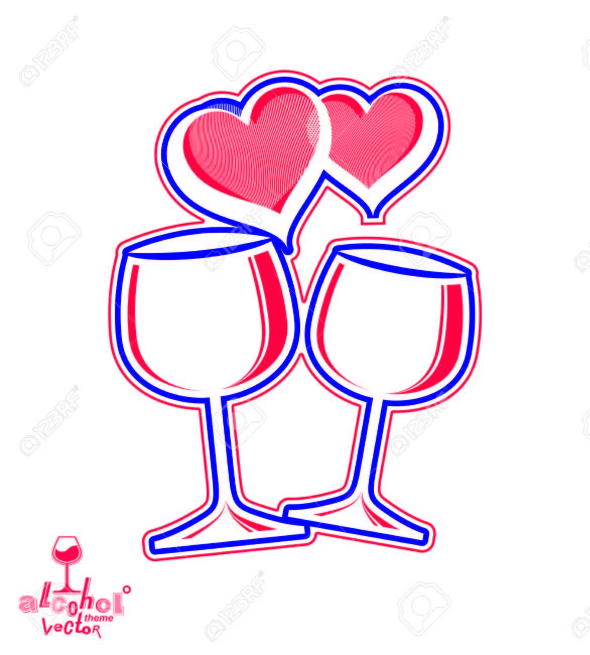 Artistic Illustration Of Wineglasses With Two Elegant Loving ...