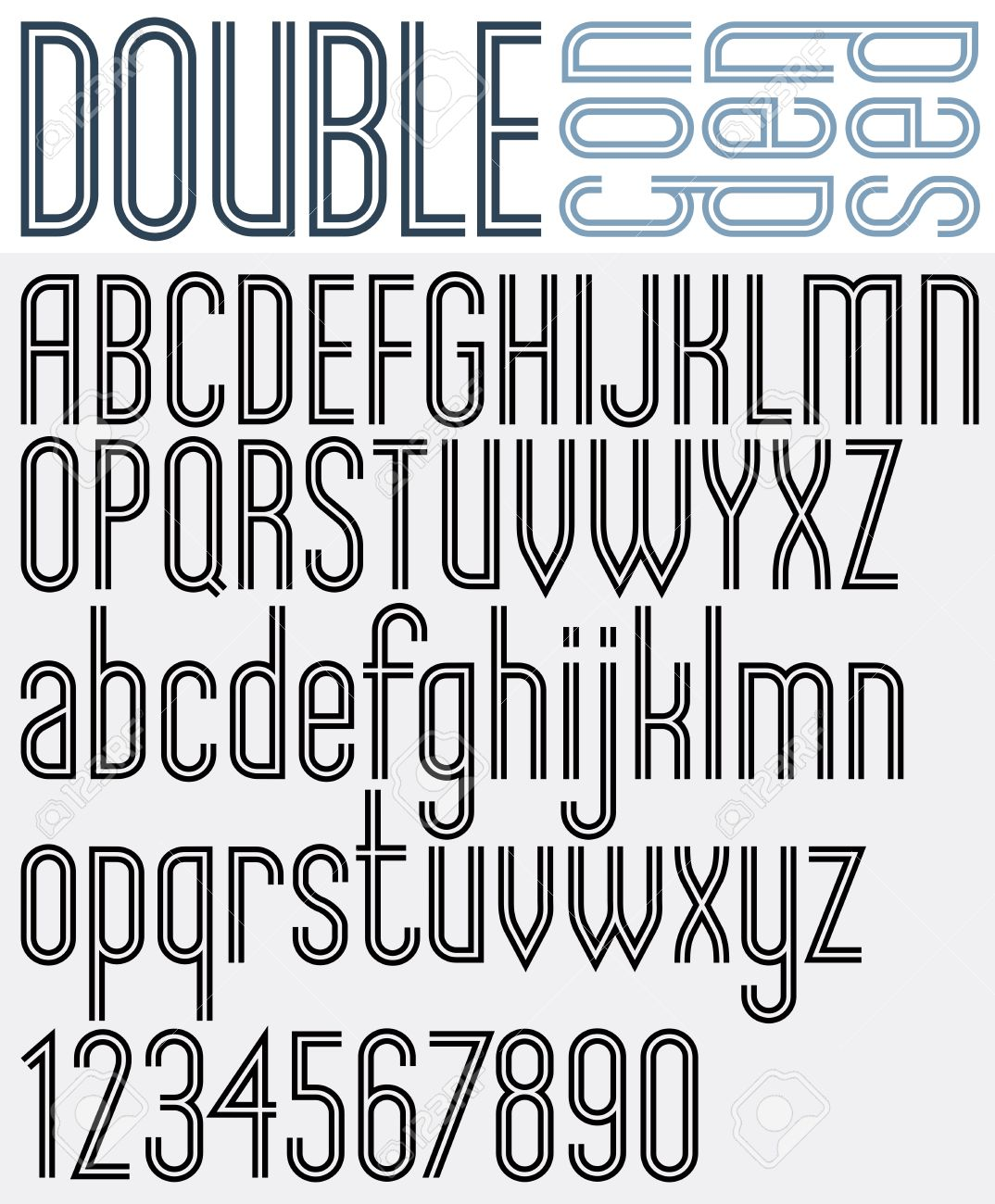 Double Line retro style geometric font, light condensed version,