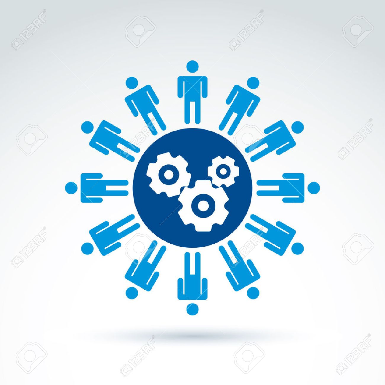 Vector illustration of gears - enterprise system theme, organization strategy concept. Cog-wheels, moving parts and people – components of manufacturing process. - 43234323