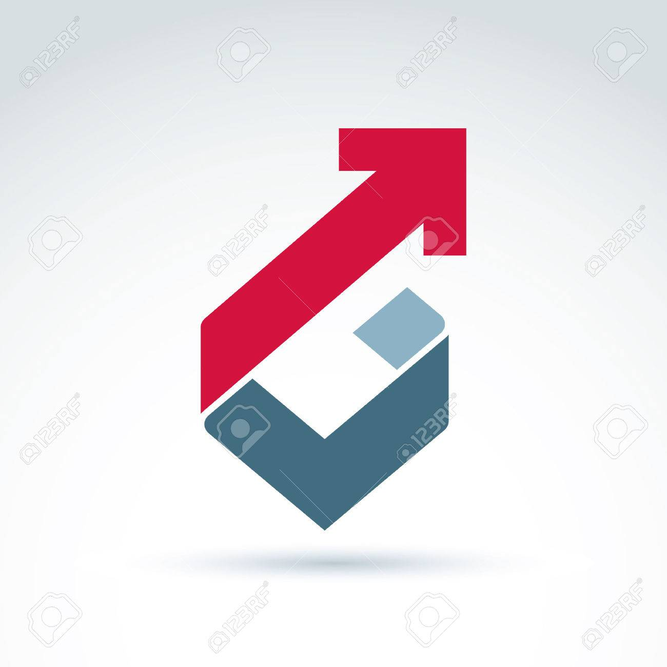 Vector conceptual corporate design element. Abstract geometric symbol, checkmark and red diagonal arrow, infographics icon. Stock Vector - 43236557