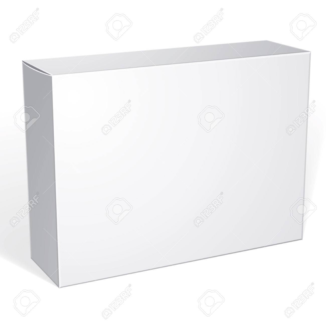 Package white box design isolated on white background, template for your package design, put your image over the box in multiply mode - 43235997