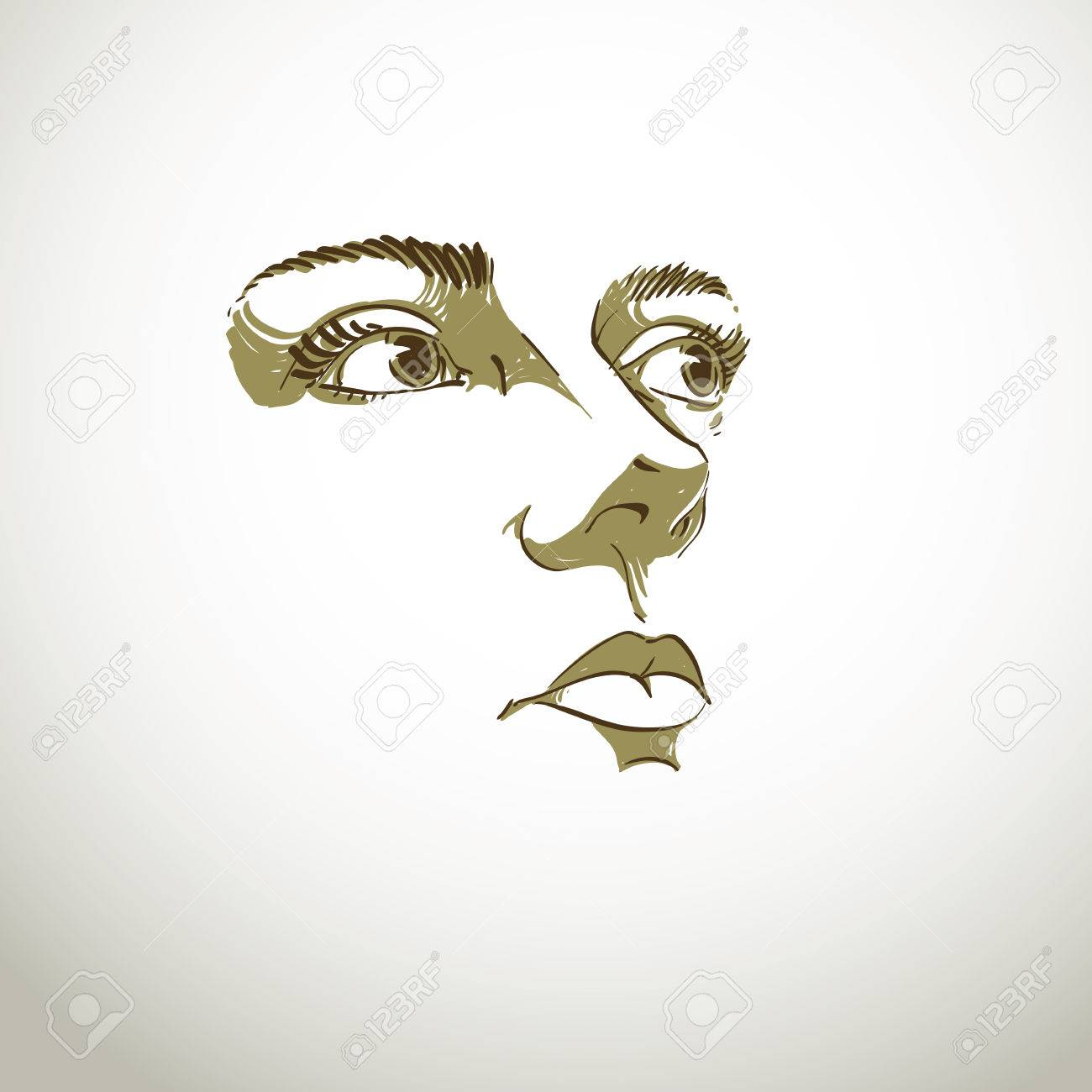 Black and white illustration of lady face, delicate visage features. Eyes and lips of peaceful woman expressing positive emotions. - 44757615