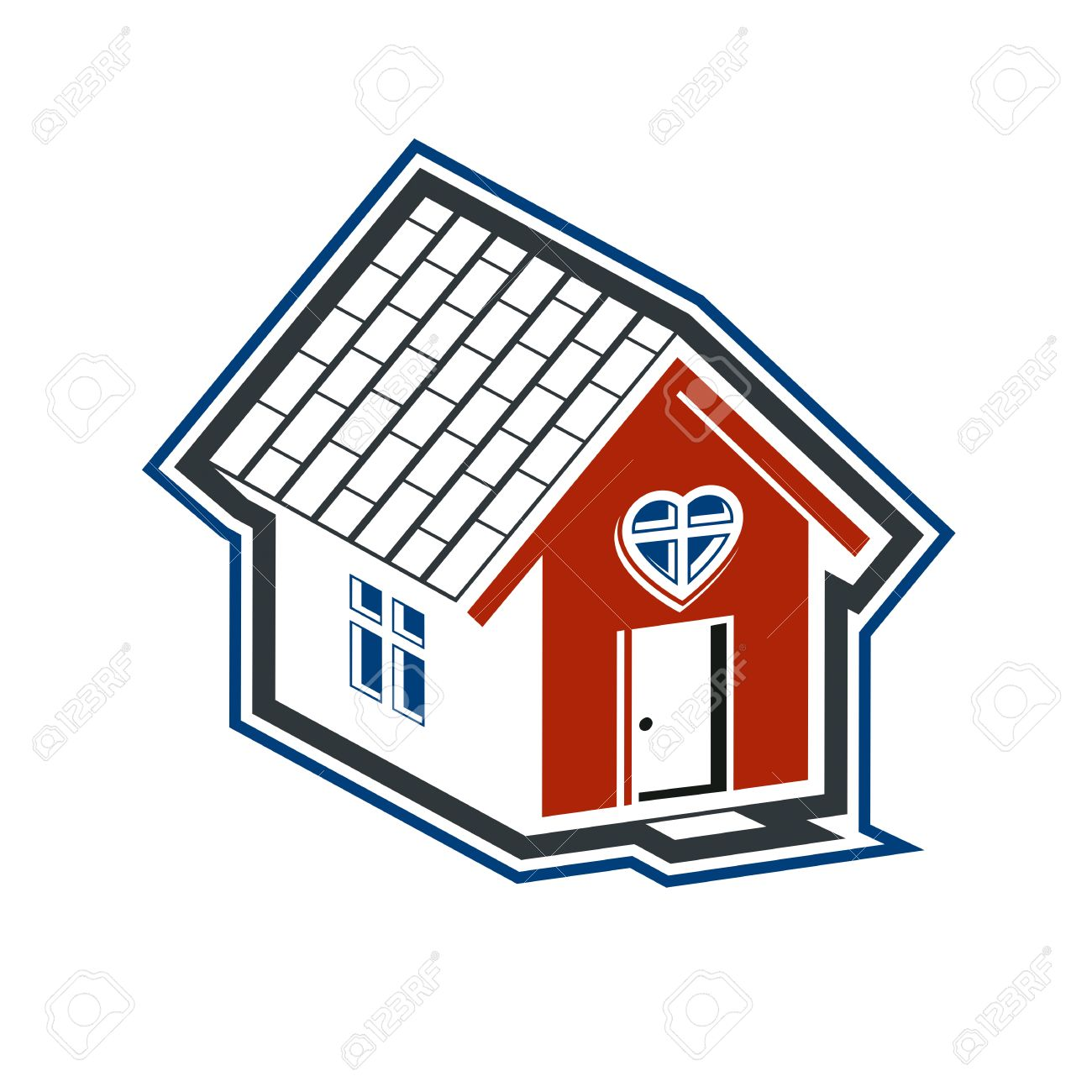 Family House Abstract Icon, Harmony At Home Concept. Simple Building ...