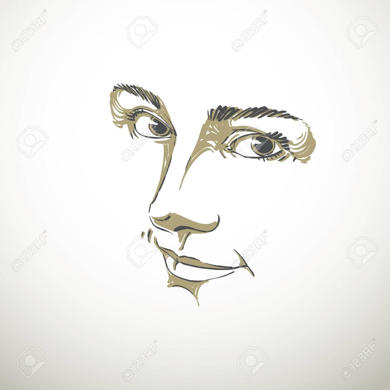 Monochrome Portrait De Délicate Bonne Mine Rêveuse Encore Femme