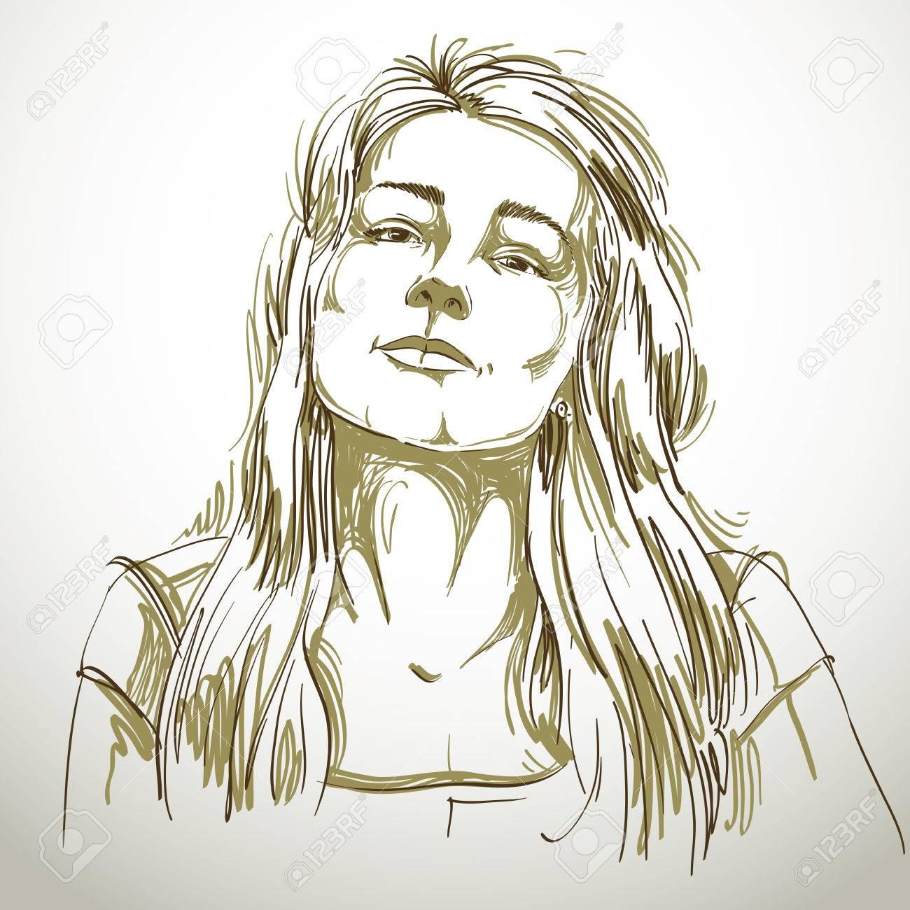 Portrait De Sexy Belle Femme Noir Et Blanc Dessin Vectoriel Idée Image Expressions émotionnelles Fille Passionnée
