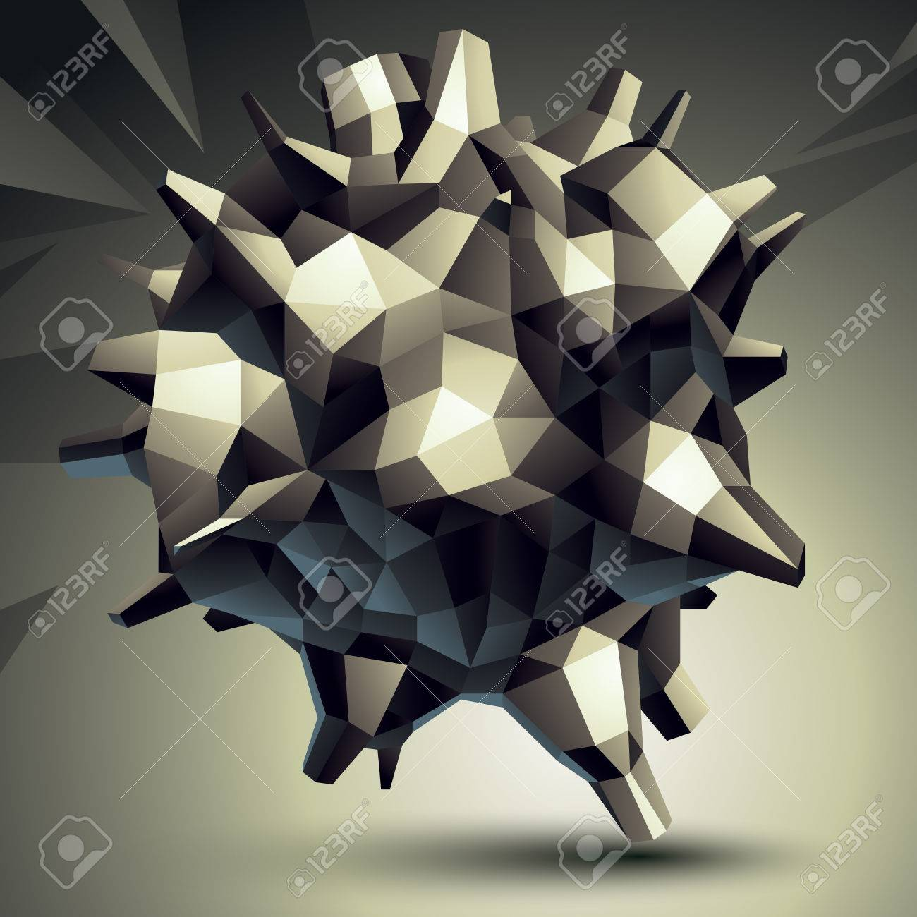 3D Modern Stylish Abstract Construction, Origami Facet Object ...