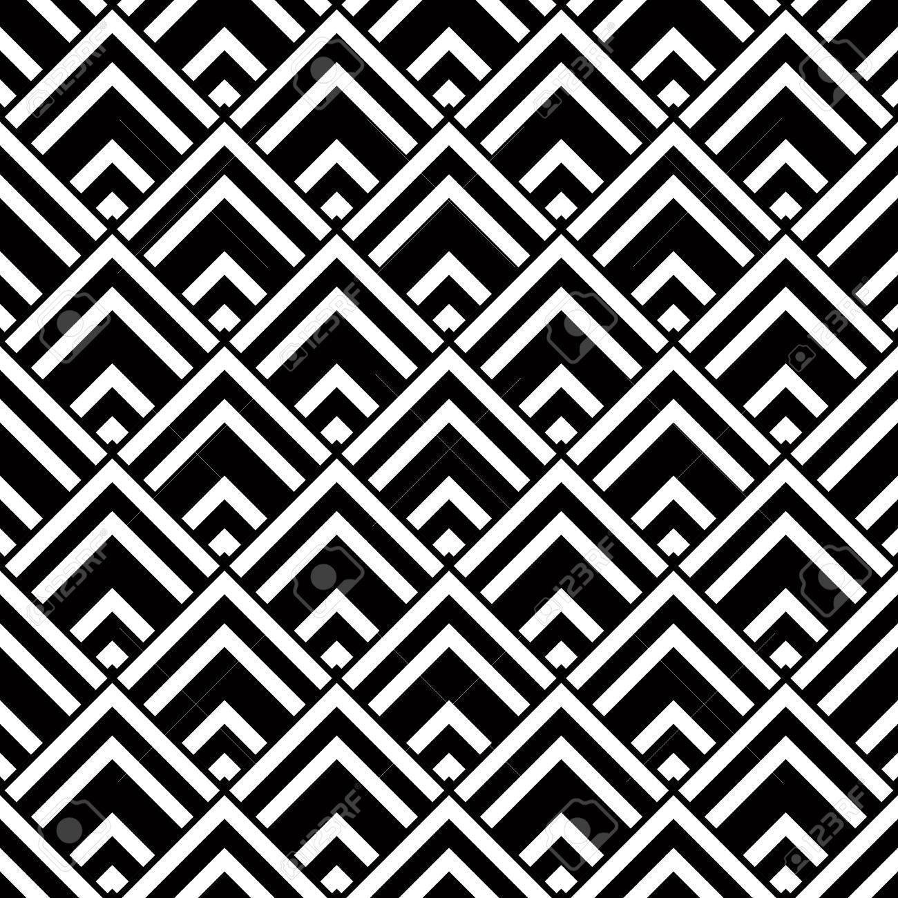 Nahtlose Geometrischen Vektor Hintergrund Einfache Schwarz Weiß