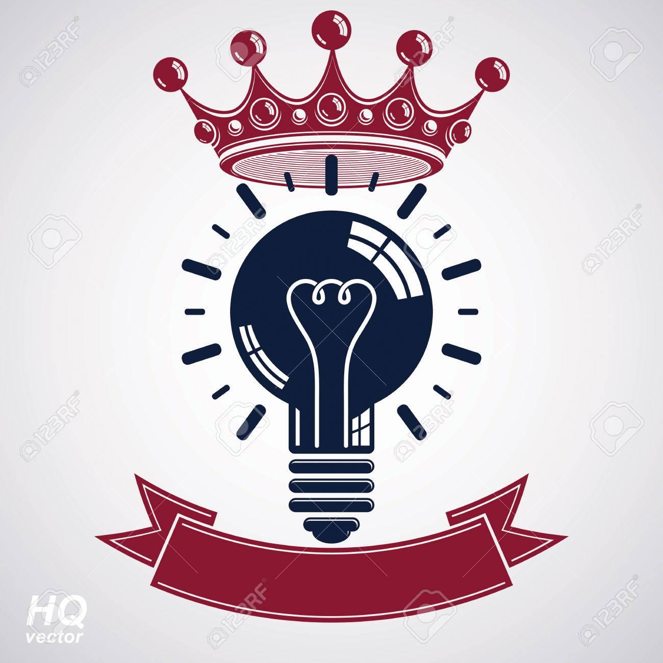 Elektrizität Glühbirne Symbol Mit Krone, Einblick Emblem. Vector ...