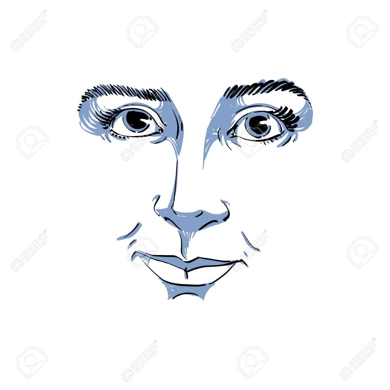 Uitzonderlijk Vector Zwart-wit Art Tekening, Portret Van Prachtige Dromerige #KV69