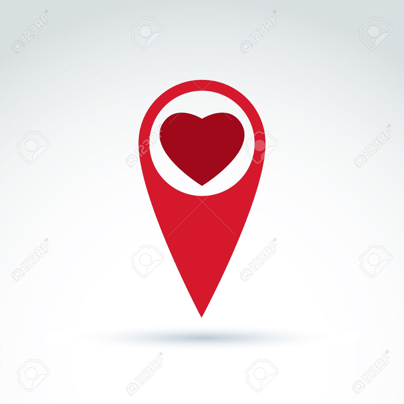 Vector Map Pointer With A Loving Heart Icon Place Location Symbol