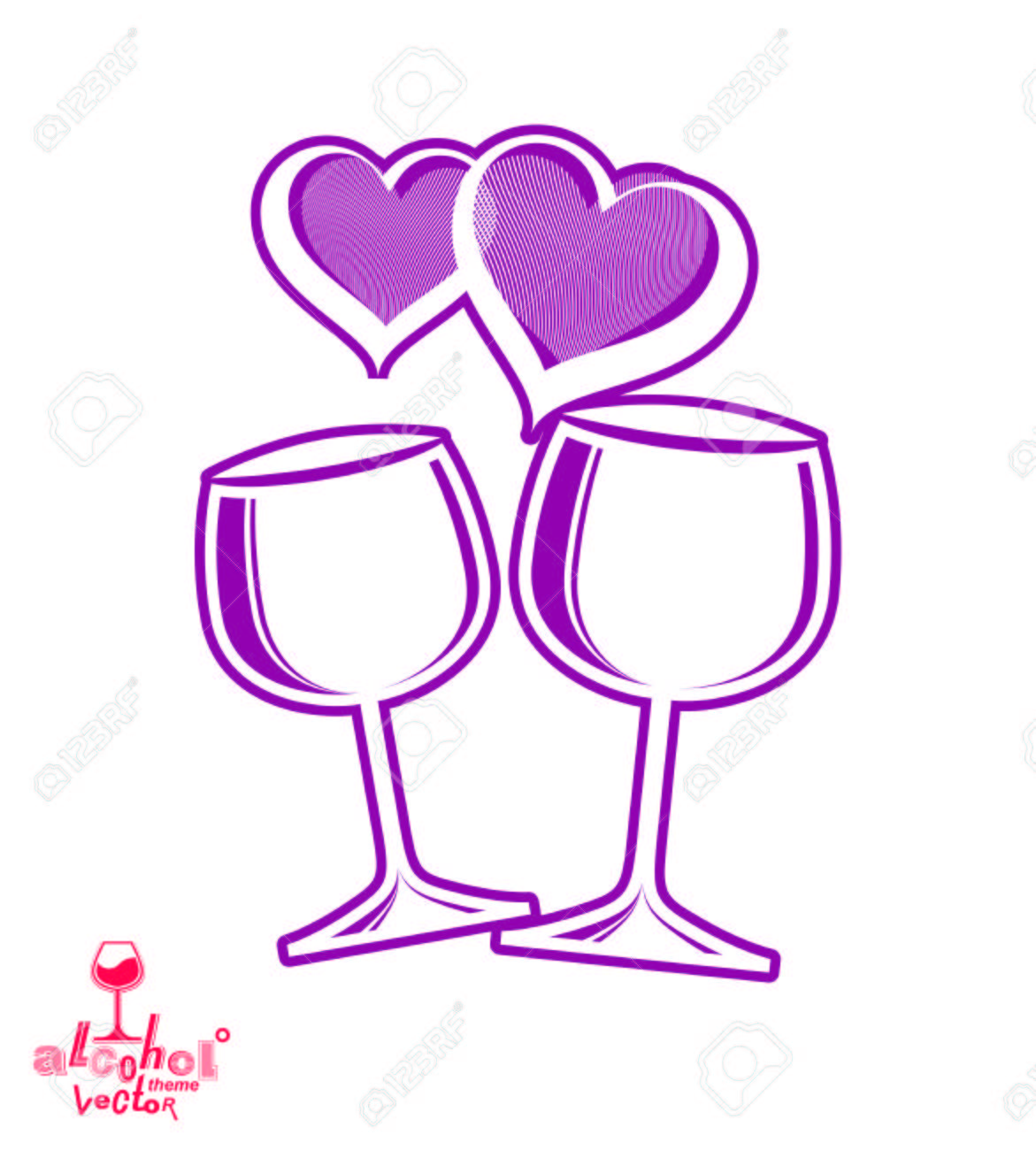 Artistic Illustration Of Wineglasses With Two Elegant Loving Hearts ...