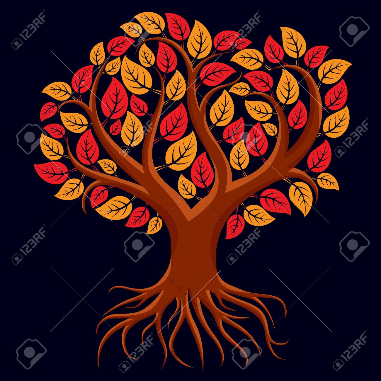 vector art illustration of branchy tree with strong roots tree