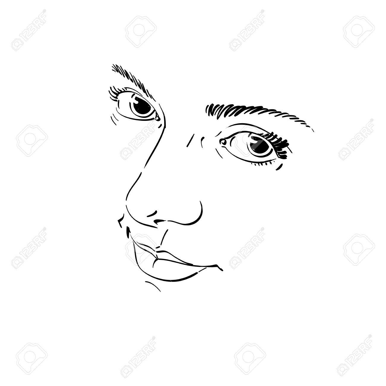 Illustration Visage monochrome silhouette of melancholic attractive lady, face features