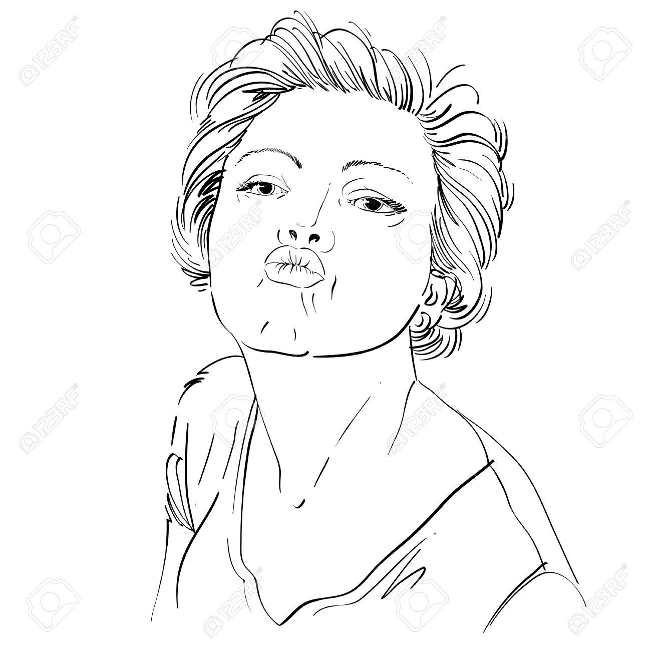 Kunstlerische Hand Gezeichnet Bild Schwarz Weiss Portrat Von