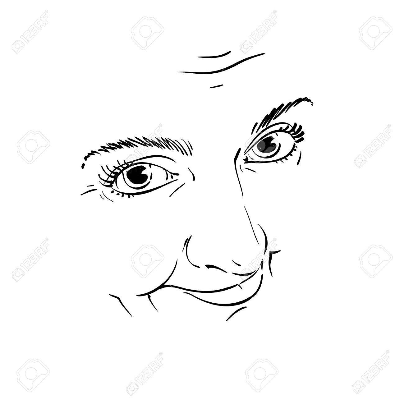 Illustration Visage black and white illustration of lady face, delicate visage features