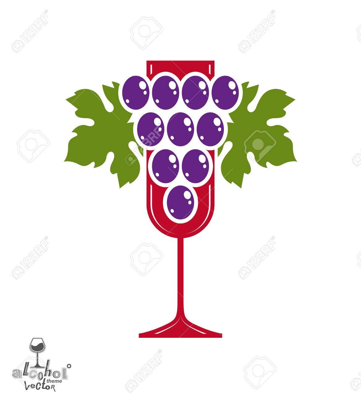 Award Winery thème vecteur illustration. Stylisé à moitié plein verre de vin avec grappe de raisins et de ruban décoratif, symbole meilleur racemation