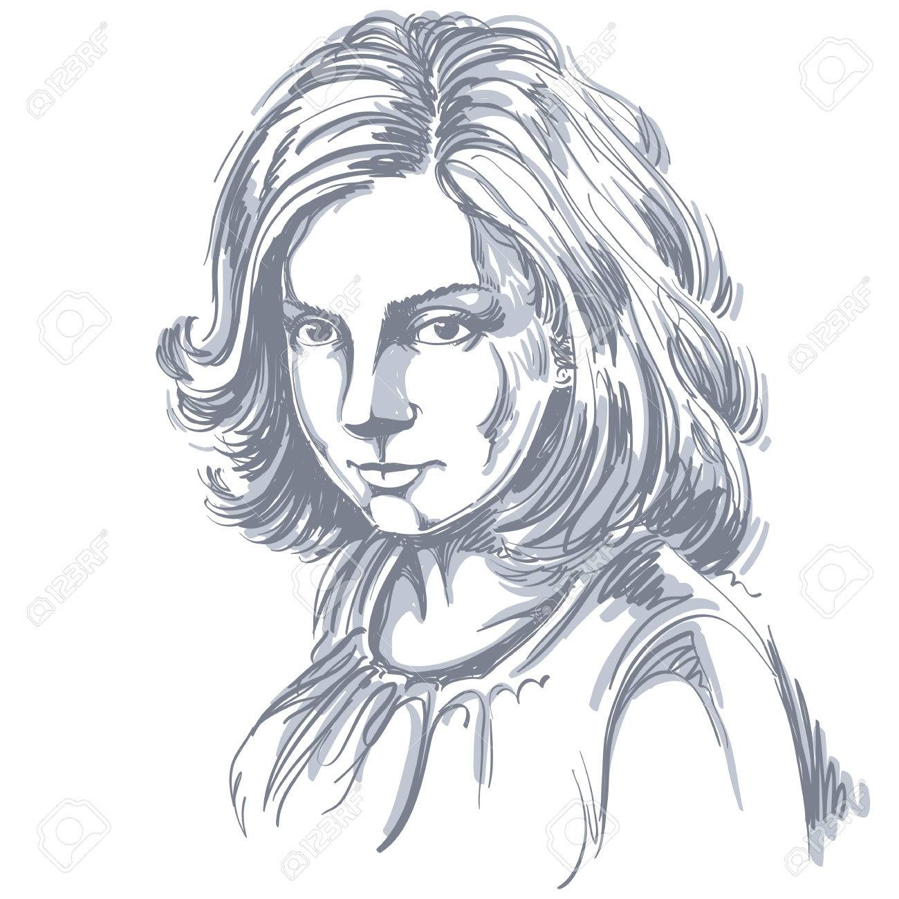 Vector Art Dessin Portrait De Fille Magnifique Romantique Isolé Sur Blanc Les Expressions Du Visage Les Gens émotions Romantiques Positifs